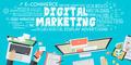 Flat Design Illustration Concept for Digital Marketing - PhotoDune Item for Sale