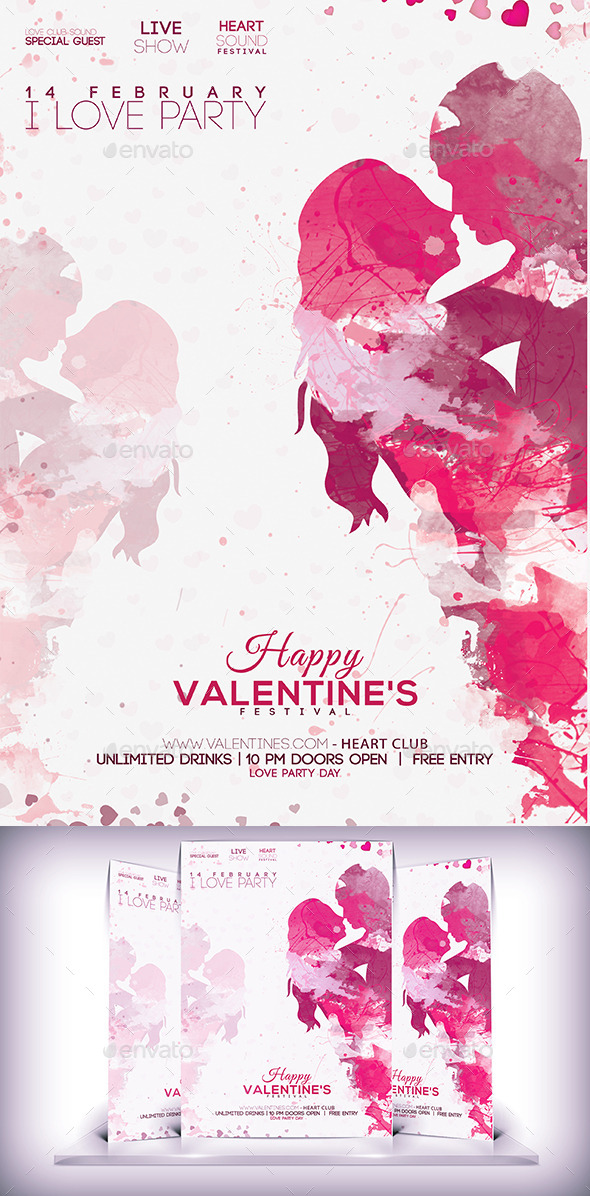 GraphicRiver Lovers Day Party Flyer 10267046