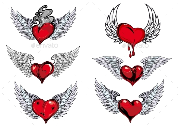 GraphicRiver Winged Heart Icons and Tattoos 10382420