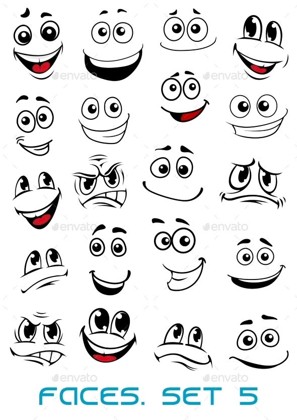 GraphicRiver Cartoon Faces with Different Expressions 10382497