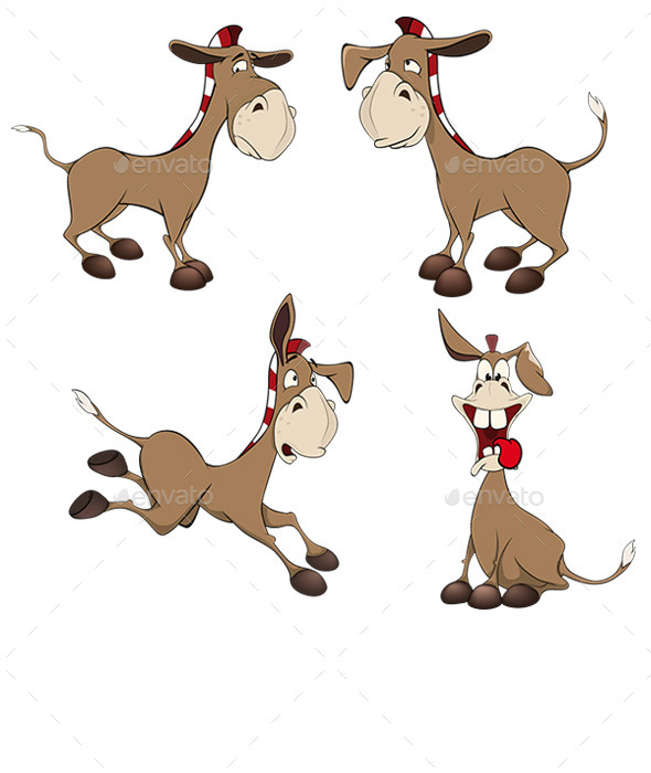 GraphicRiver Set of Burros Cartoon 10382502