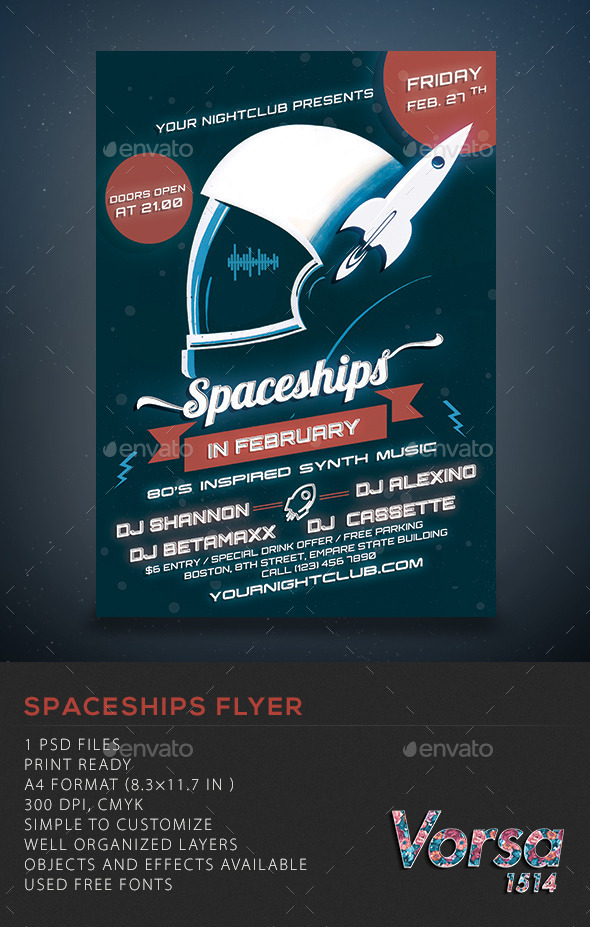 GraphicRiver Spaceships Party Flyer 10382505