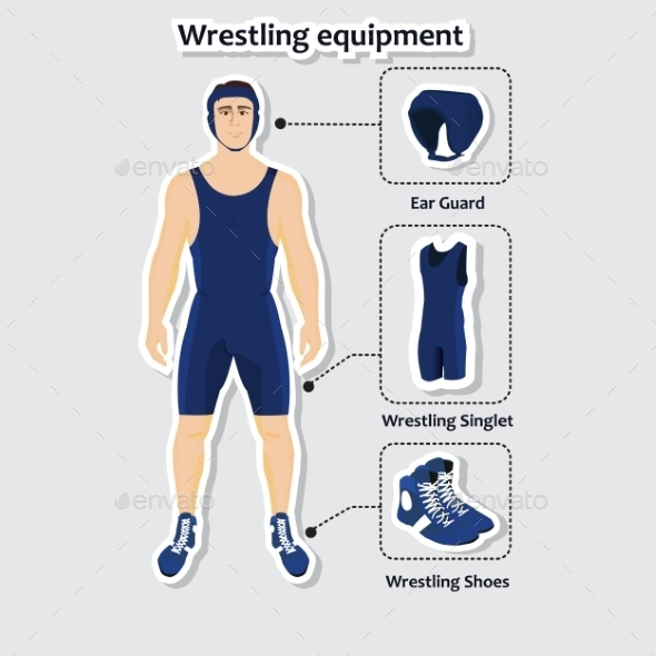 GraphicRiver Set of Wrestling Equipment with a Man 10382639