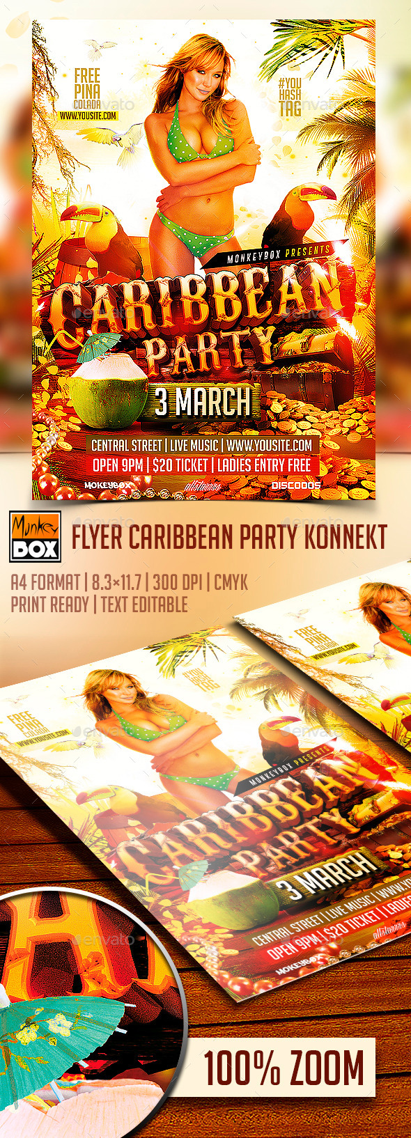 Flyer Caribbean Party Konnekt - Flyers Print Templates
