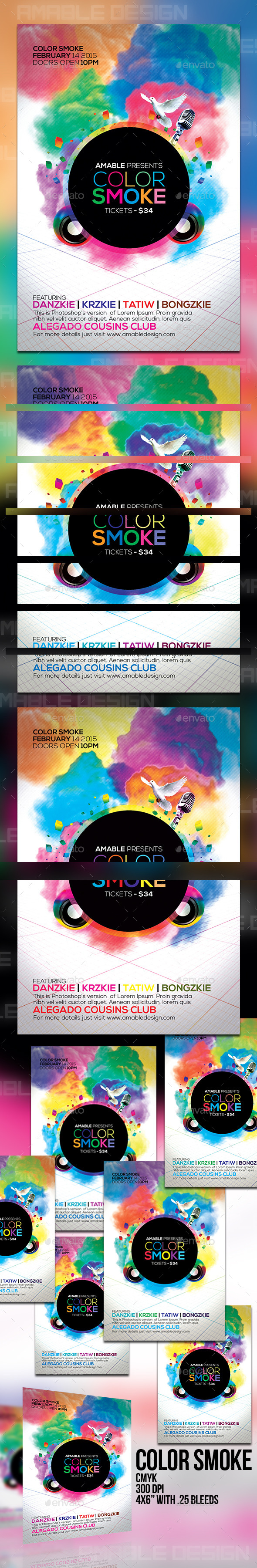 GraphicRiver Color Smoke Flyer 10382686