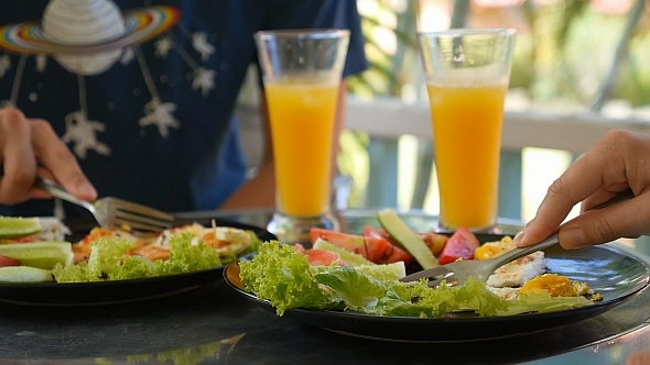 Breakfast with Fried Egg and Juice