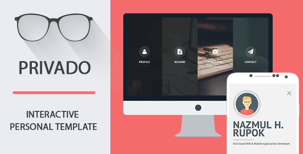 ThemeForest Privado Interactive Resume & Portfolio Template 10290475