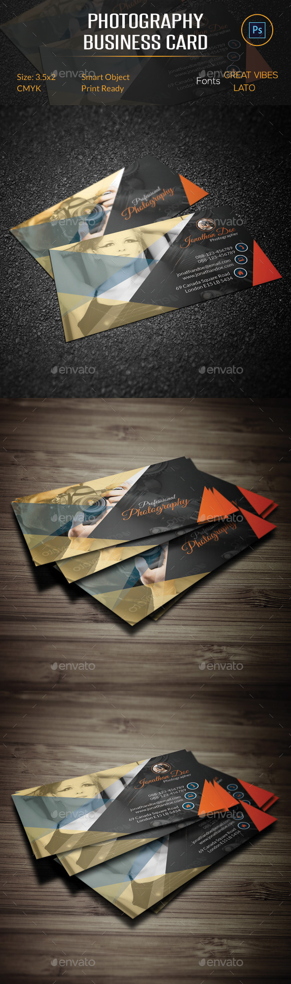 GraphicRiver Photography Business Card 10384105