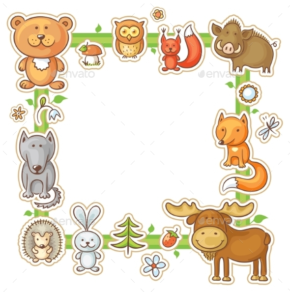 GraphicRiver Square Frame with Forest Animals 10388622