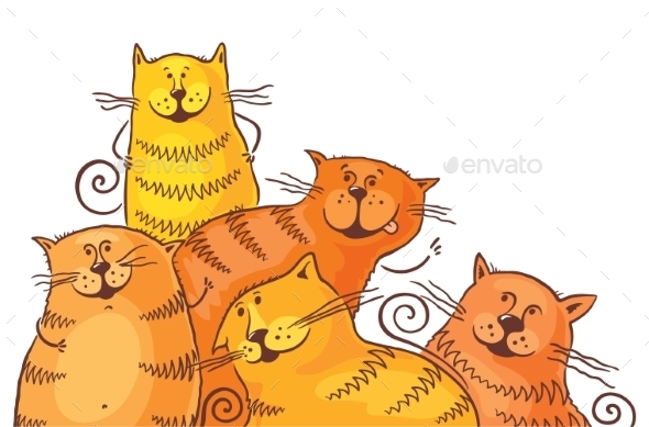 Five Fat Cartoon Cats