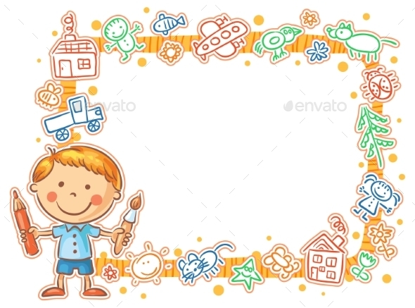 GraphicRiver Child s Drawings Frame with the Little Painter 10388973