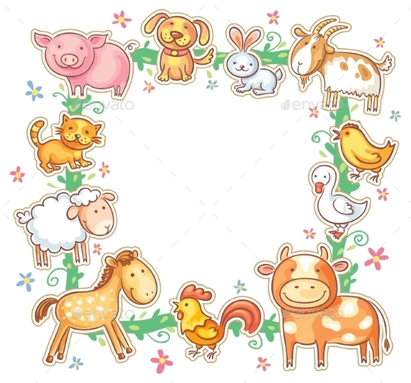 GraphicRiver Square Frame with Cartoon Farm Animals 10389067
