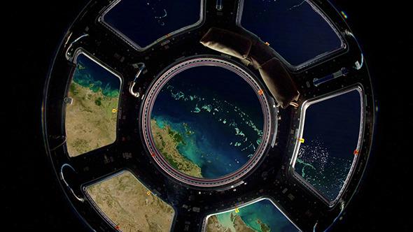Earth Through Window International Space Station