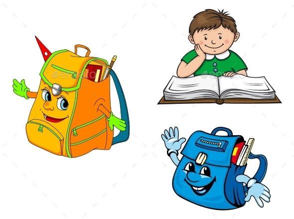 Set of Colorful School Education Icons
