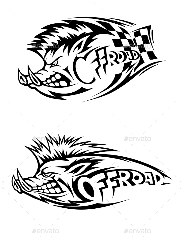 GraphicRiver Snarling Wild Boar Off Road Icons 10389351