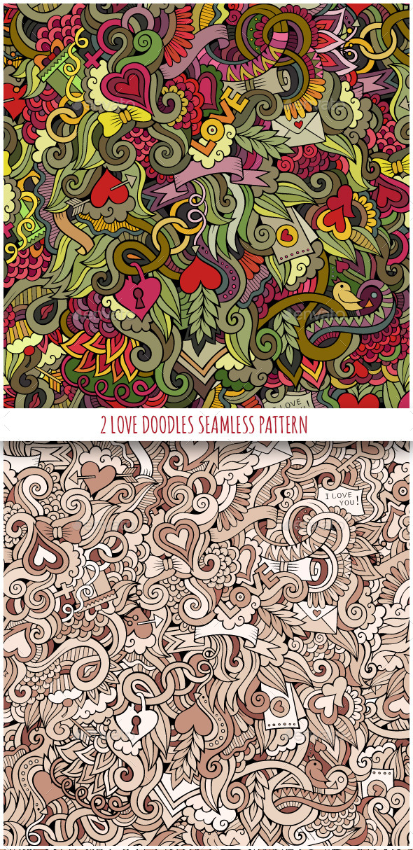 GraphicRiver 2 Love Doodles Seamless Pattern 10390175