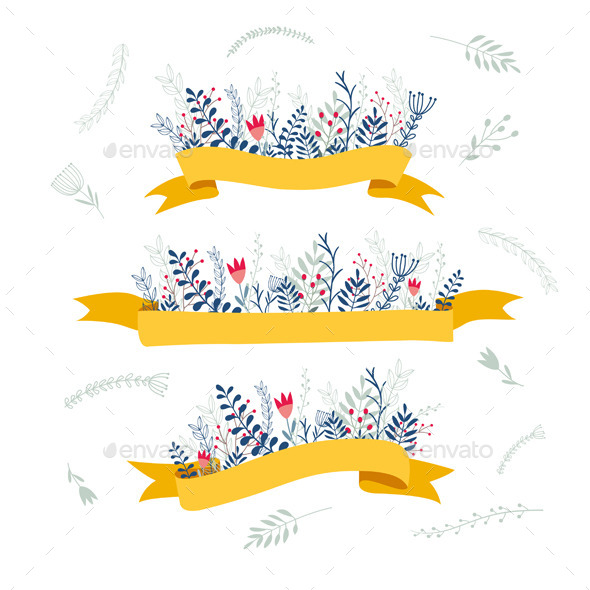 GraphicRiver Decorative Floral Composition With Ribbon for Text 10390198