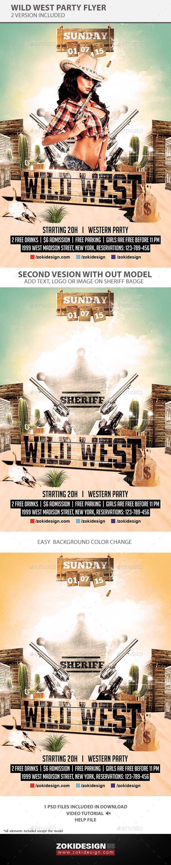 GraphicRiver Wild West Party Flyer 10390380