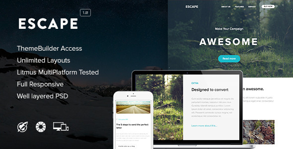 Escape - Responsive Email + Themebuilder Access - Newsletters Email Templates