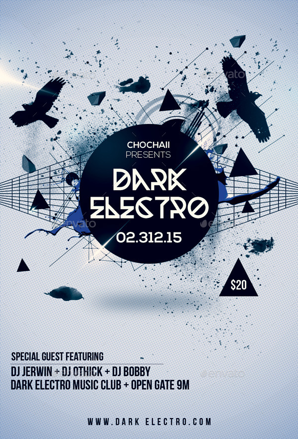 3 PSD Party Flyer Bundle by Indescribable – Electro Flyer