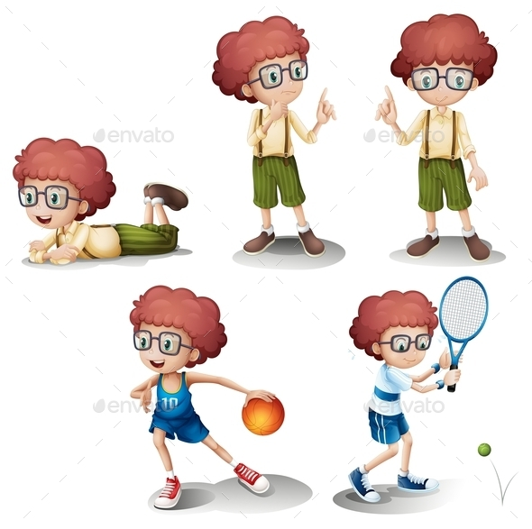 GraphicRiver Five Different Activities of a Young Boy 10390895