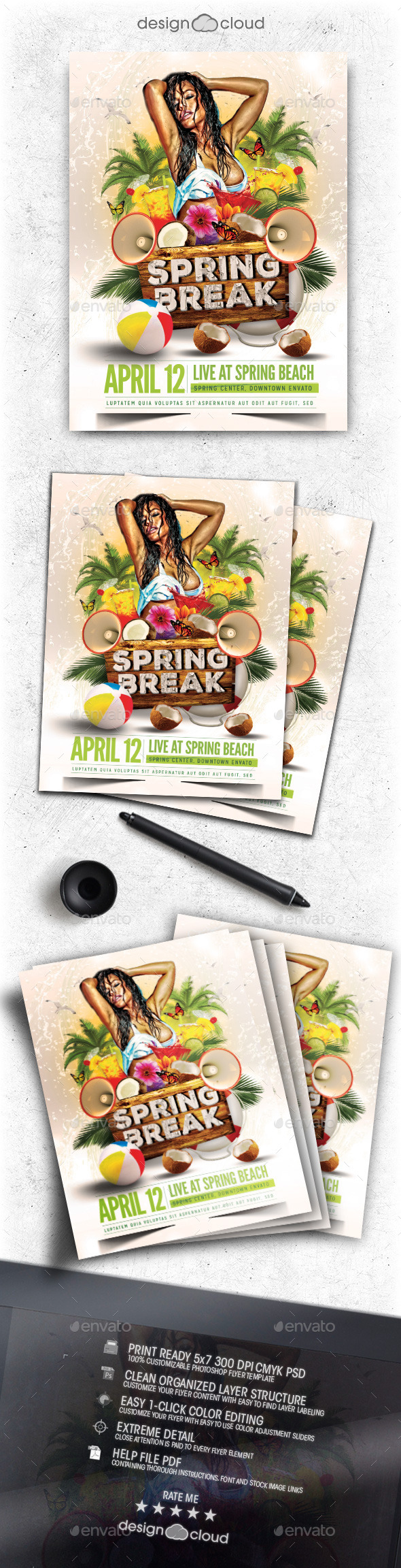GraphicRiver Spring Break Flyer Template Vol 1 10390948
