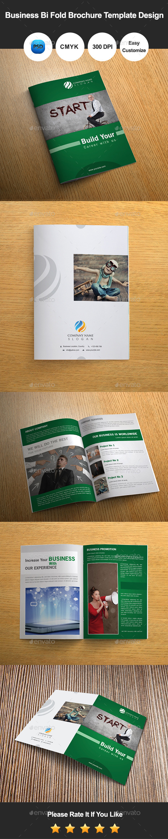 GraphicRiver 6 Pages Business Bi Fold Brochure Template Design 10391285