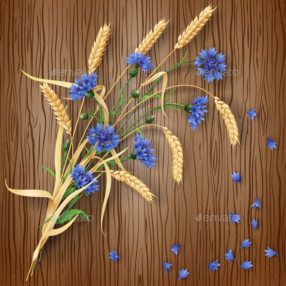 GraphicRiver Cornflowers and Wheat Ears on Wood Background 10392219
