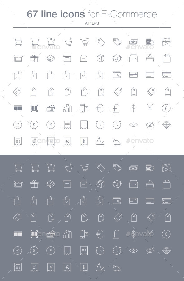 GraphicRiver E-commerce line icons set 10392429