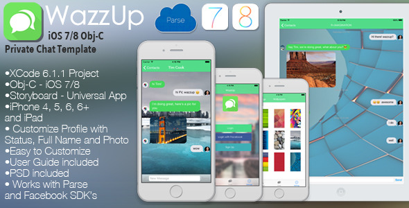 CodeCanyon WazzUp iOS Private Chat Universal App Template Obj-C 10316908