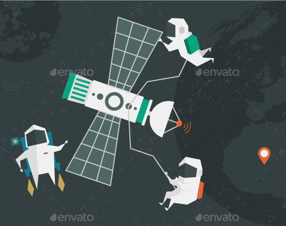 GraphicRiver Astronauts Illustration 10392650