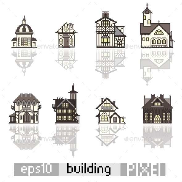 Set of Pixel Art Buildings