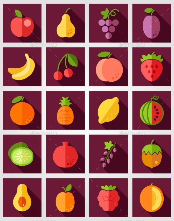 GraphicRiver Fruits Flat Icon with Long Shadow 10392930