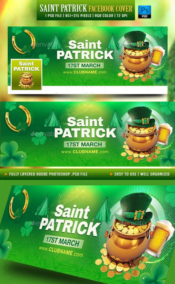 GraphicRiver Saint Patrick Facebook Cover 10392997