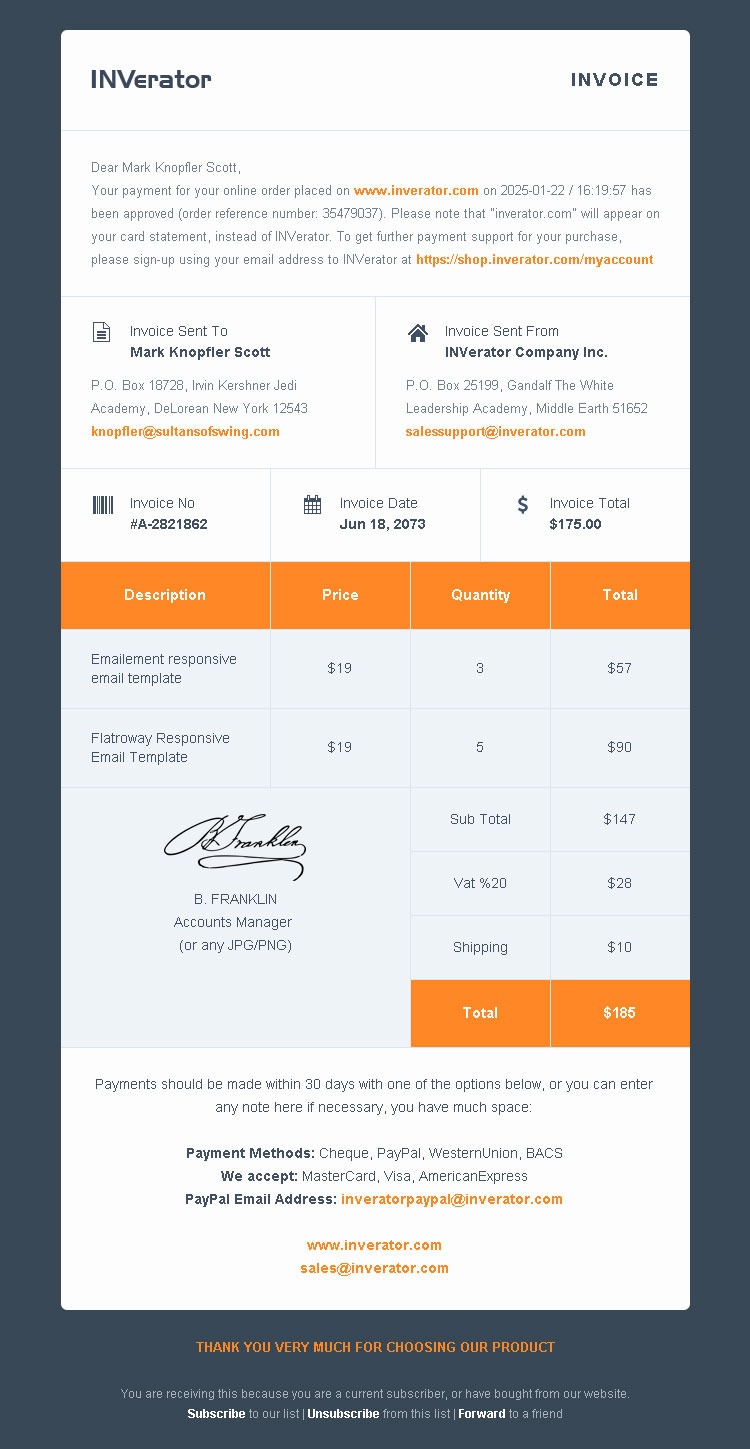 invoice for payment template