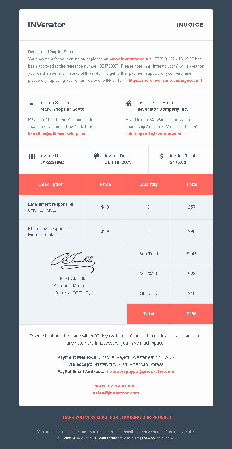 Invoice template ecommerce email builder payment receipt for Mailchimp ecommerce templates