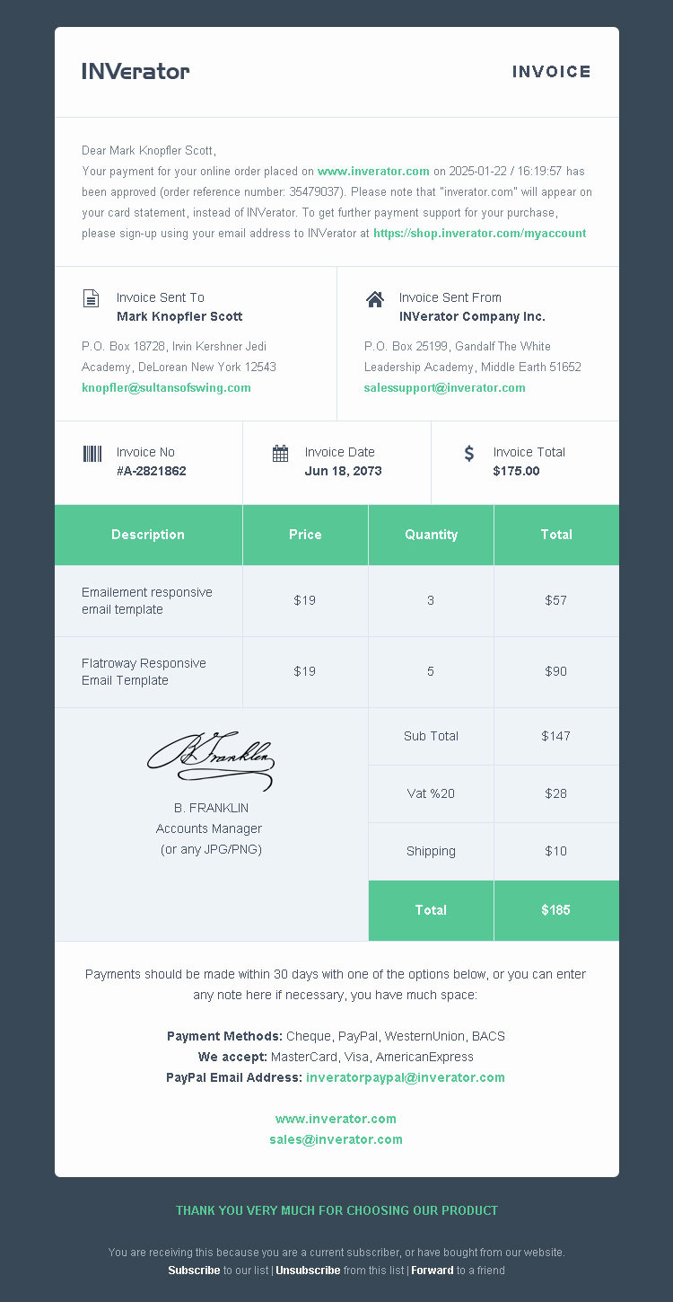 Invoice Template / Payment Receipt   Email Builder by Bedros