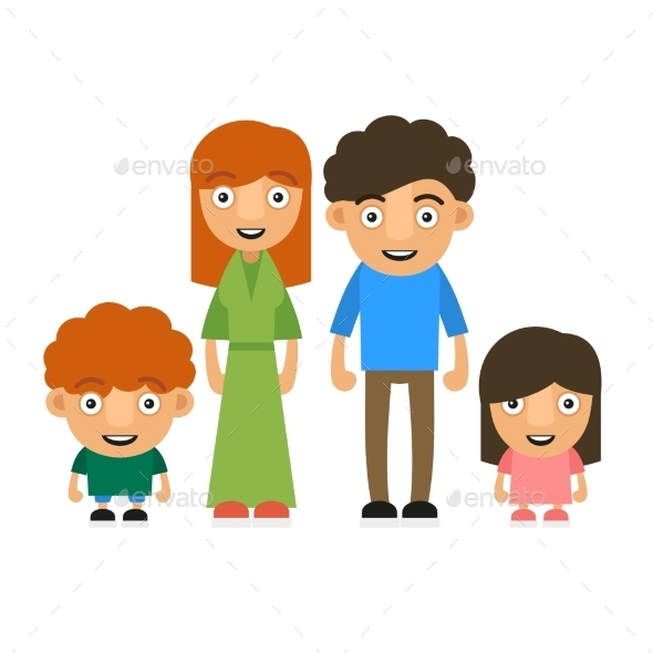 GraphicRiver Family Illustration with Two Children 10393922