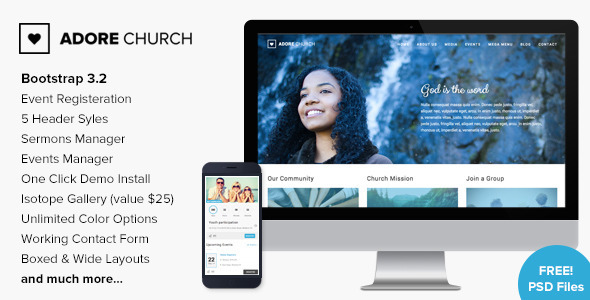 Adore Church Responsive WordPress Theme
