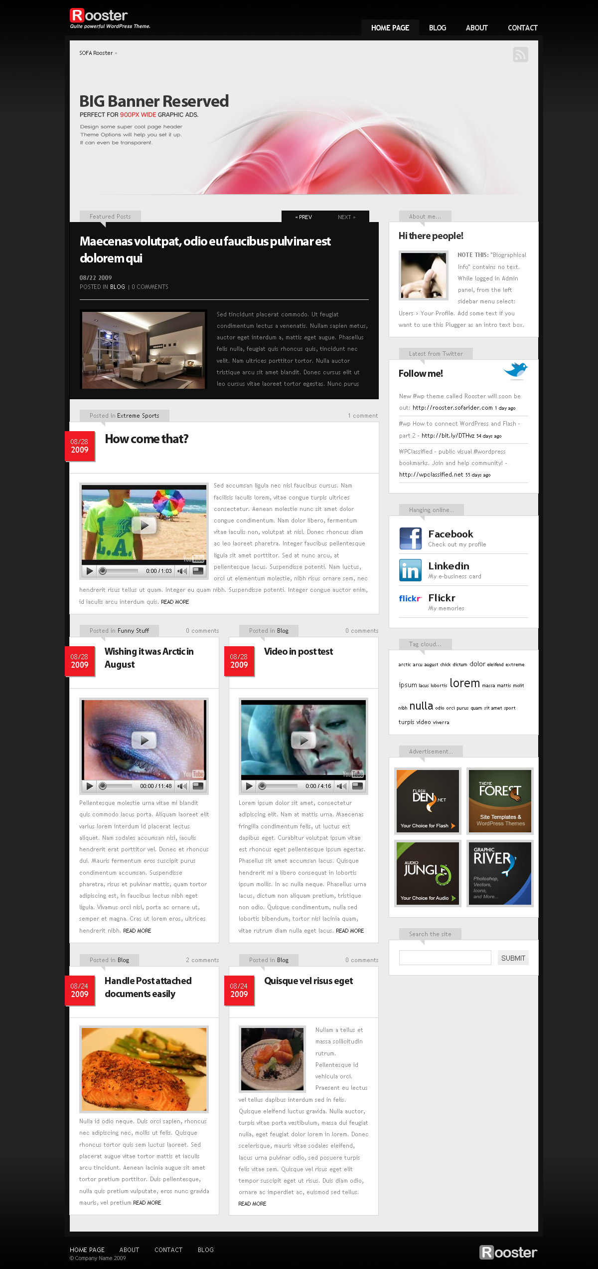 Sofa Rooster, WordPress theme - Home page layout; combine big and small boxes, add featured posts...