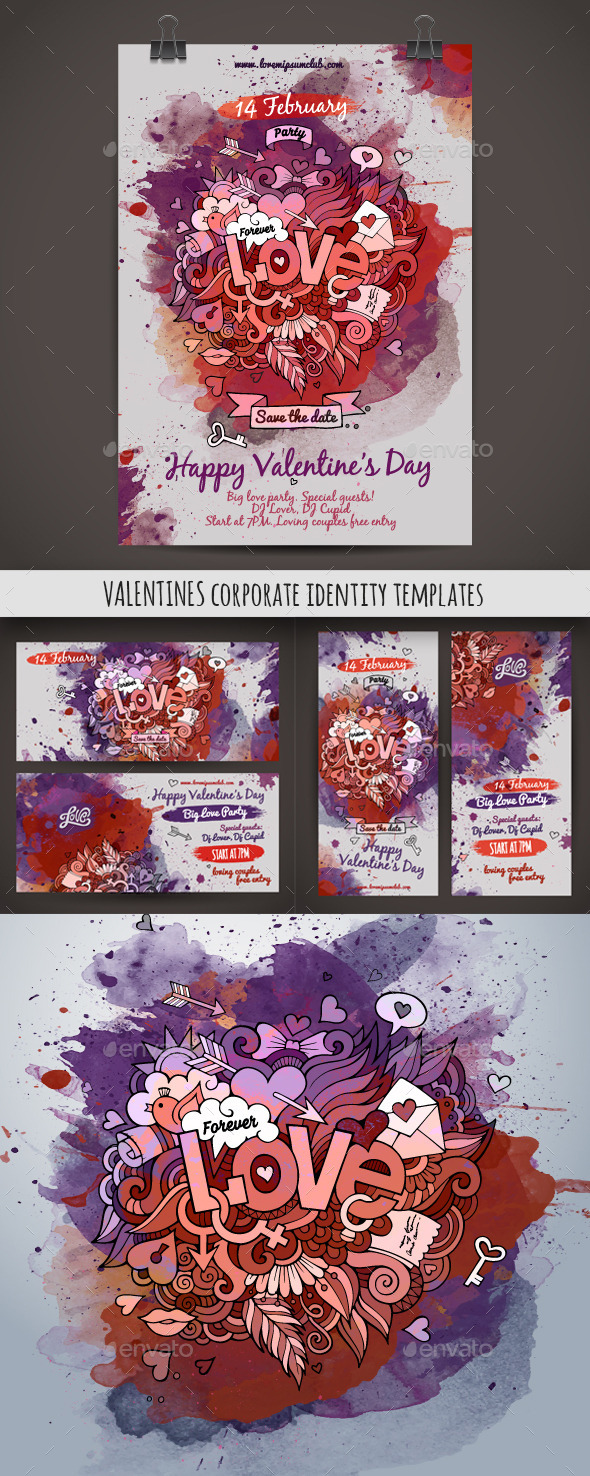 GraphicRiver Love Doodles Corporate Identity Templates 10394945