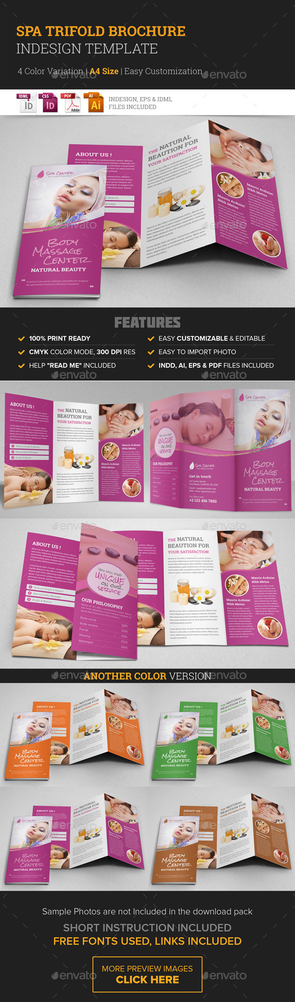 GraphicRiver Spa & Beauty Salon Trifold Brochure Template 10395235
