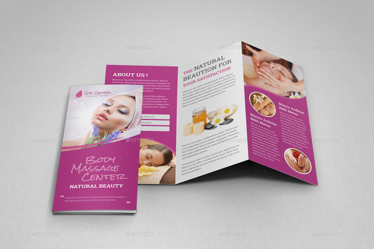spa brochure templates free - spa beauty salon trifold brochure template by