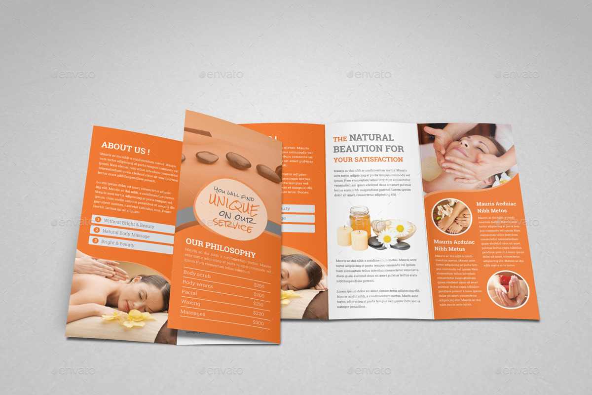 Spa Beauty Salon Trifold Brochure Template by JanySultana – Spa Brochure Template