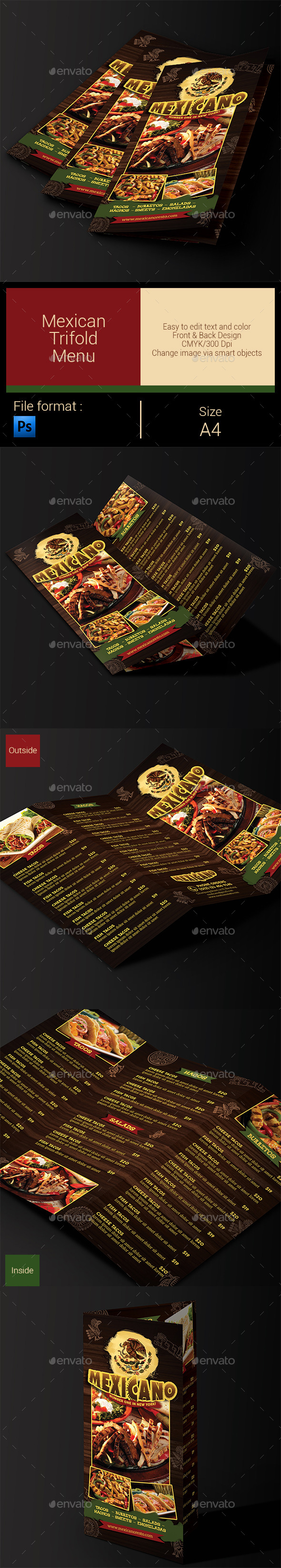 GraphicRiver Mexican Menu Trifold 10395294