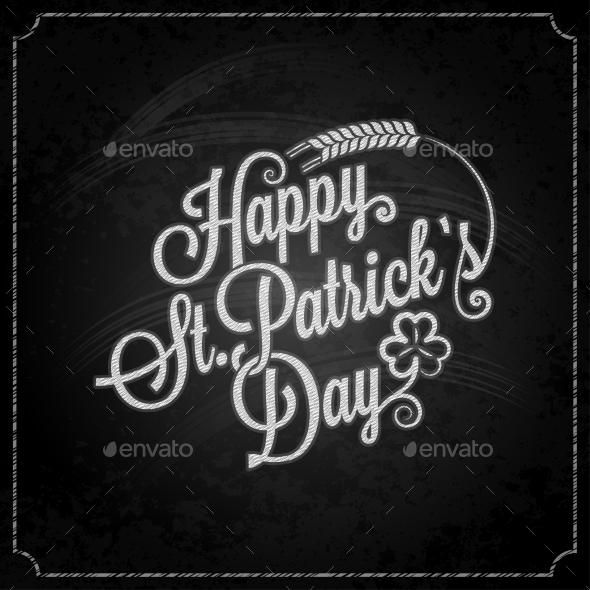 GraphicRiver Patrick Day Vintage Chalk Background 10395593