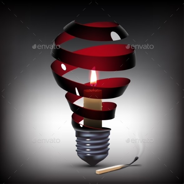 GraphicRiver Light Bulb with Candle 10395734