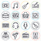 Online Music Line Icons