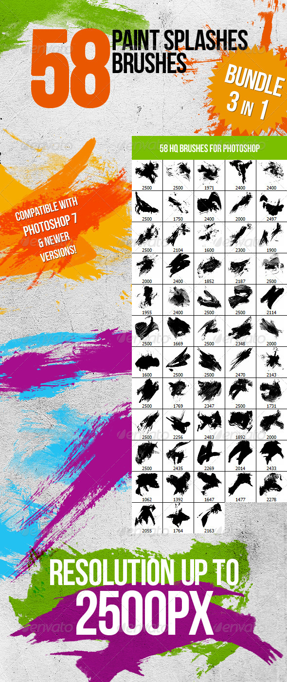 GraphicRiver Bundle 3in1 58 Paint Splashes Photoshop Brushes 1047028