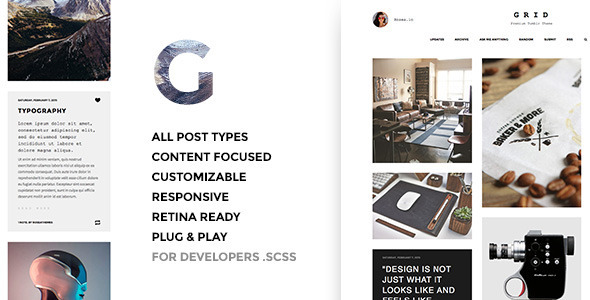 Grid – Premium Tumblr Theme (Tumblr) images